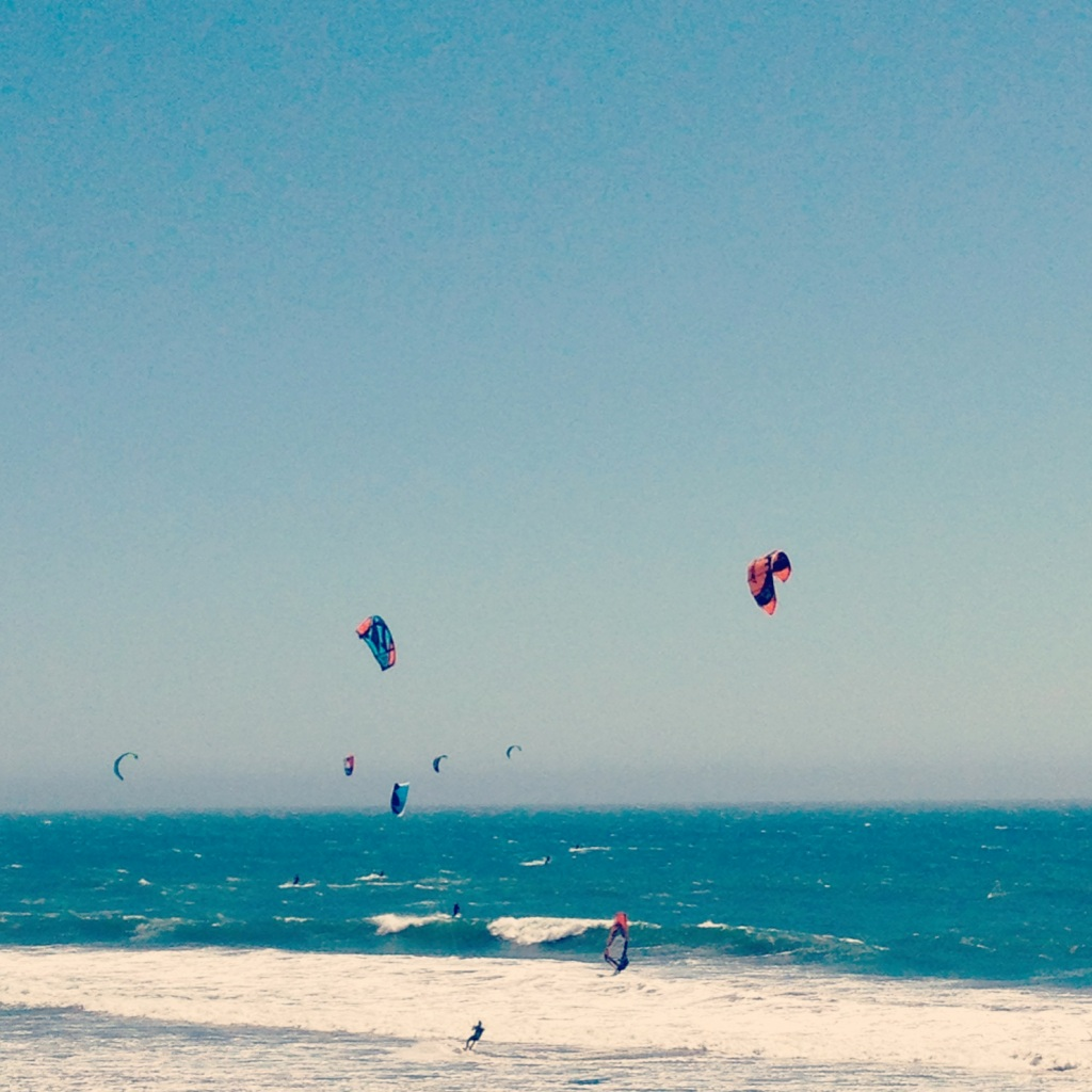 Kite surfers on Highway 1 in California