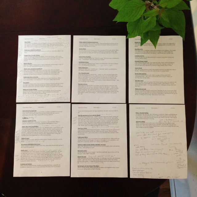 Buffalo Writes - Book outlined printed up and on a table.