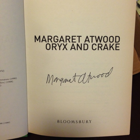 Signed first edition of Oryx and Crake by Margaret Atwood.
