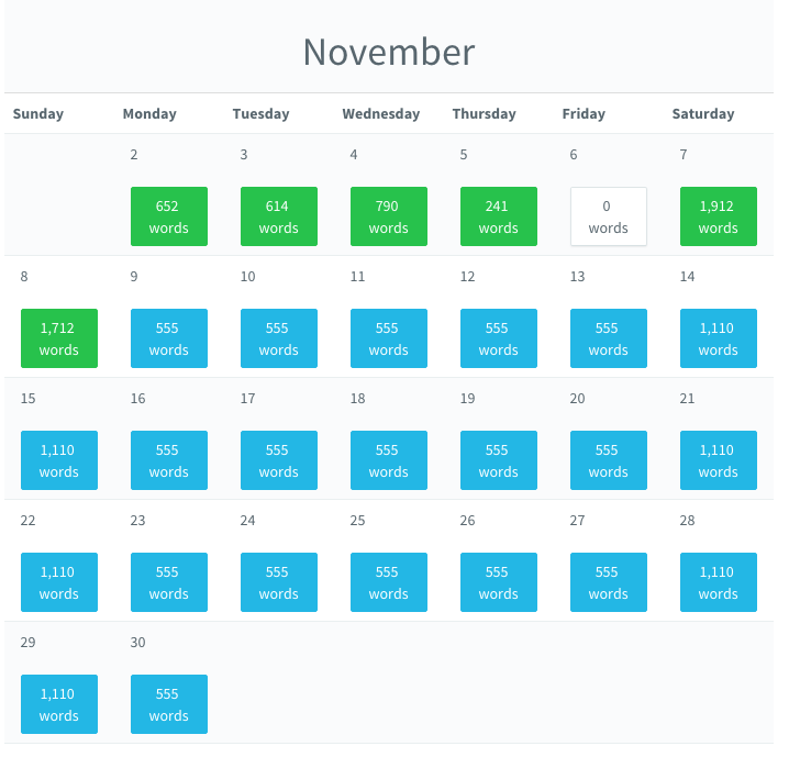 Pacemaker Writing Calendar